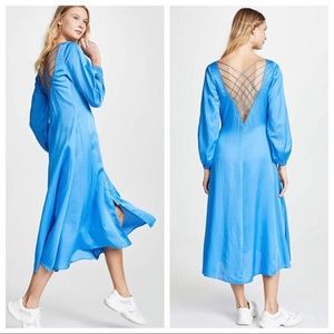 Free People Sz 12 Later Days Midi Dress Slit